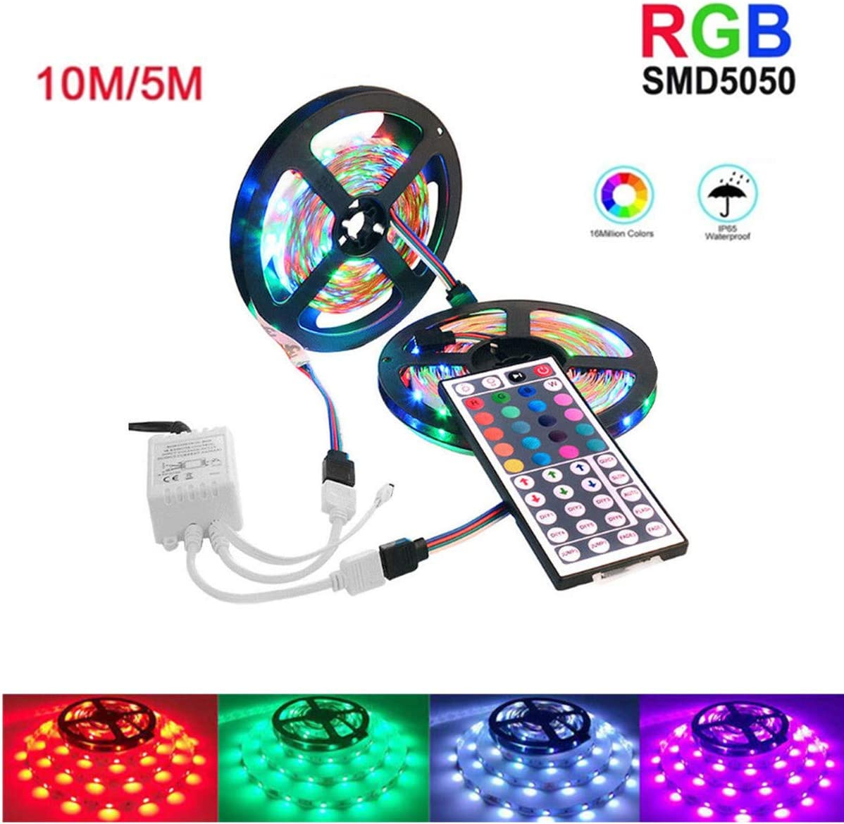3M L-E-D Strip Light String SMD 5050 RGB Flexible Light Tape+44 Key IR Remote Control Supply for TV Room Kitchen Party Decoration Bedroom