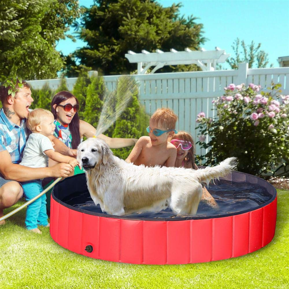 Yaheetech Hard Plastic Foldable Pet Bath Pool Collapsible Large Dog Pet Pool Bathing Swimming Tub Kiddie Pool for Large Dogs Cats and Kids(63inch.D x 12inch. H, Red) by Yaheetech (Image #9)