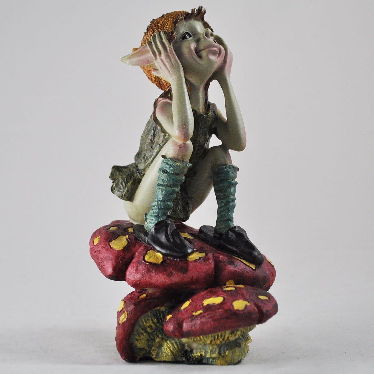 Pensée Pixie sur Champignon–Vert Jardin Home Decor Figurine cadeau fun–– Anthony Fisher