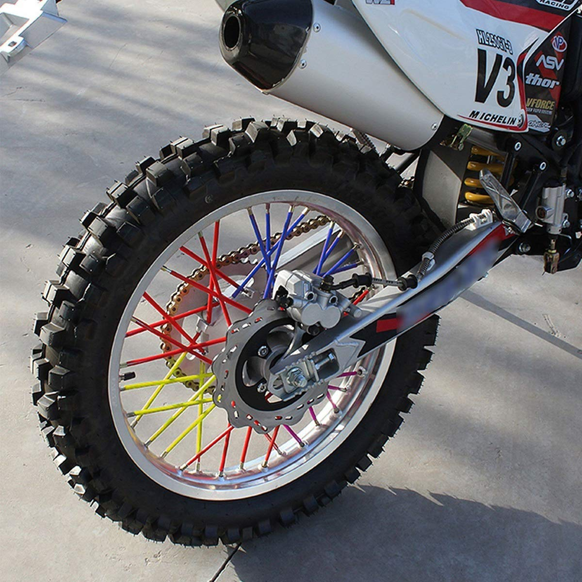 Color : Purple DEALPEAK 72PCS Spoke Skins Covers for Motocross Dirt Bike Wheel Rim Guard Protector Wraps