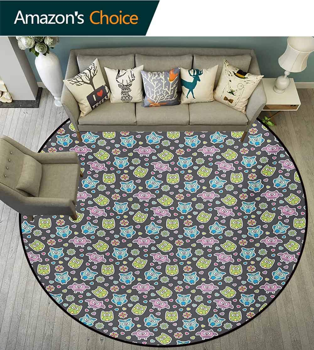 RUGSMAT Owls Round Rug,Cute Cartoon Animals with Flowers and Hearts Doodle Style Flora and Fauna Pattern Carpet Door Pad for Bedroom/Living Room/Balcony/Kitchen Mat,Round-63 Inch Multicolor