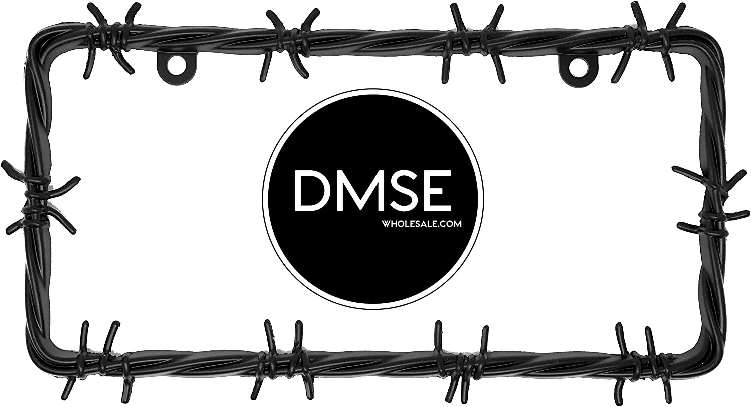 Black DMSE Barb Barbed Wire Barbwire Wired Universal Metal License Plate Frame Cool Decorative Design For Any Vehicle