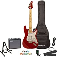 Sawtooth ST-ES-CARP-KIT-3 Candy Apple Red Electric Guitar with Pearl White Pickguard - Includes Accessories, Amp, Gig Bag and Online Lesson