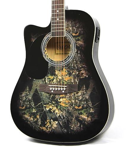 Moz zurdos Full Size cuerpo delgado Negro Guitarra Eléctrica y Acústica con 8 accesorios