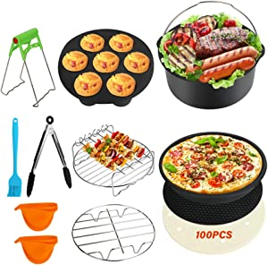 ACETOP 7 Inch Air Fryer Accessories Set of 12, XL Air Fryer Accessories for Gowise Phillips USA Cozyna, Fits All 3.7QT-5.8QT Deep Airn Fryer with Cake Basket, Pizza Pan, Oven Mitts, Skewer Rack