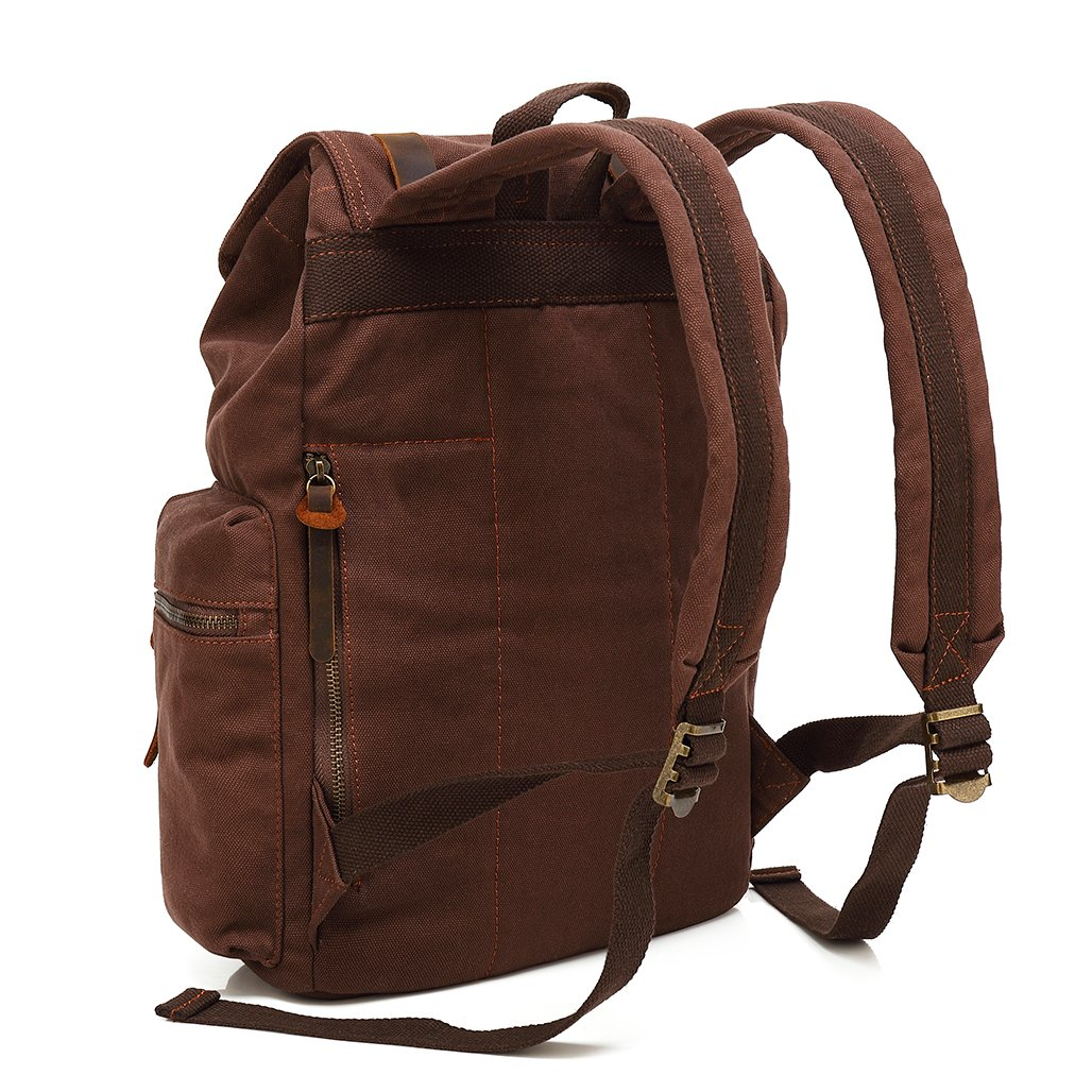 Amazon.com  Vintage Travel Canvas Leather Backpack 8188fd17ed4be
