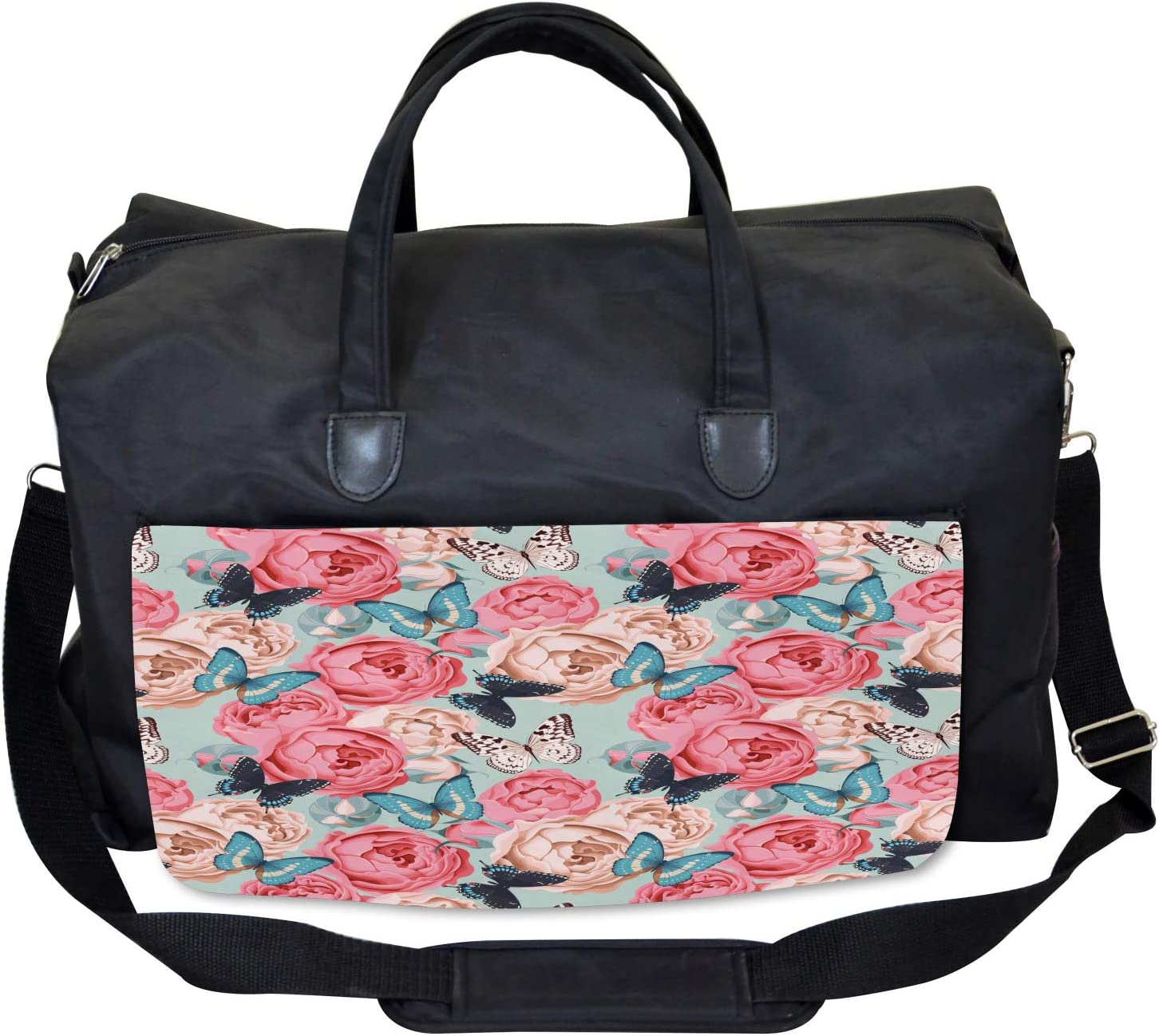Peony Rose Butterflies Ambesonne Colorful Gym Bag Large Weekender Carry-on