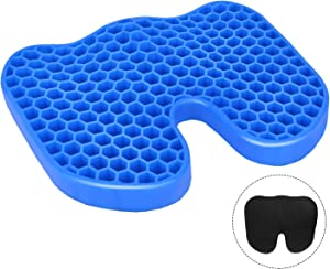 Leader Accessories U Shape Ergonomics Cooling Honeycomb Design Gel Seat Cushion Pad with Mesh Cover for Car,Office Chair,Wheelchair,Home - Pressure Sore Relief