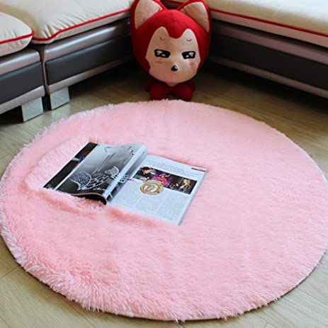 TideTex Modern Simple Round Area Rug Fashion Pink Super Soft Cute Bedroom  Carpet Bedside Rugs Home