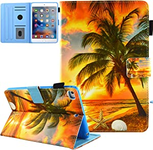 iPad Mini Case, iPad Mini 2/3 Case, iPad Mini 4 Case, iPad Mini 5 Case,JZCreater Folio Stand Wallet Case with Auto Sleep/Wake for Apple iPad Mini 1/2/3/4/5, Sunrise