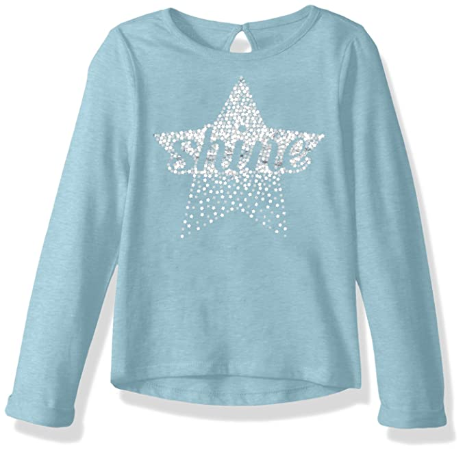 8b5f9d1959a6 Crazy 8 Girls' Toddler Long Roll Sleeve Sparkle Graphic Tee, Blue Star, ...