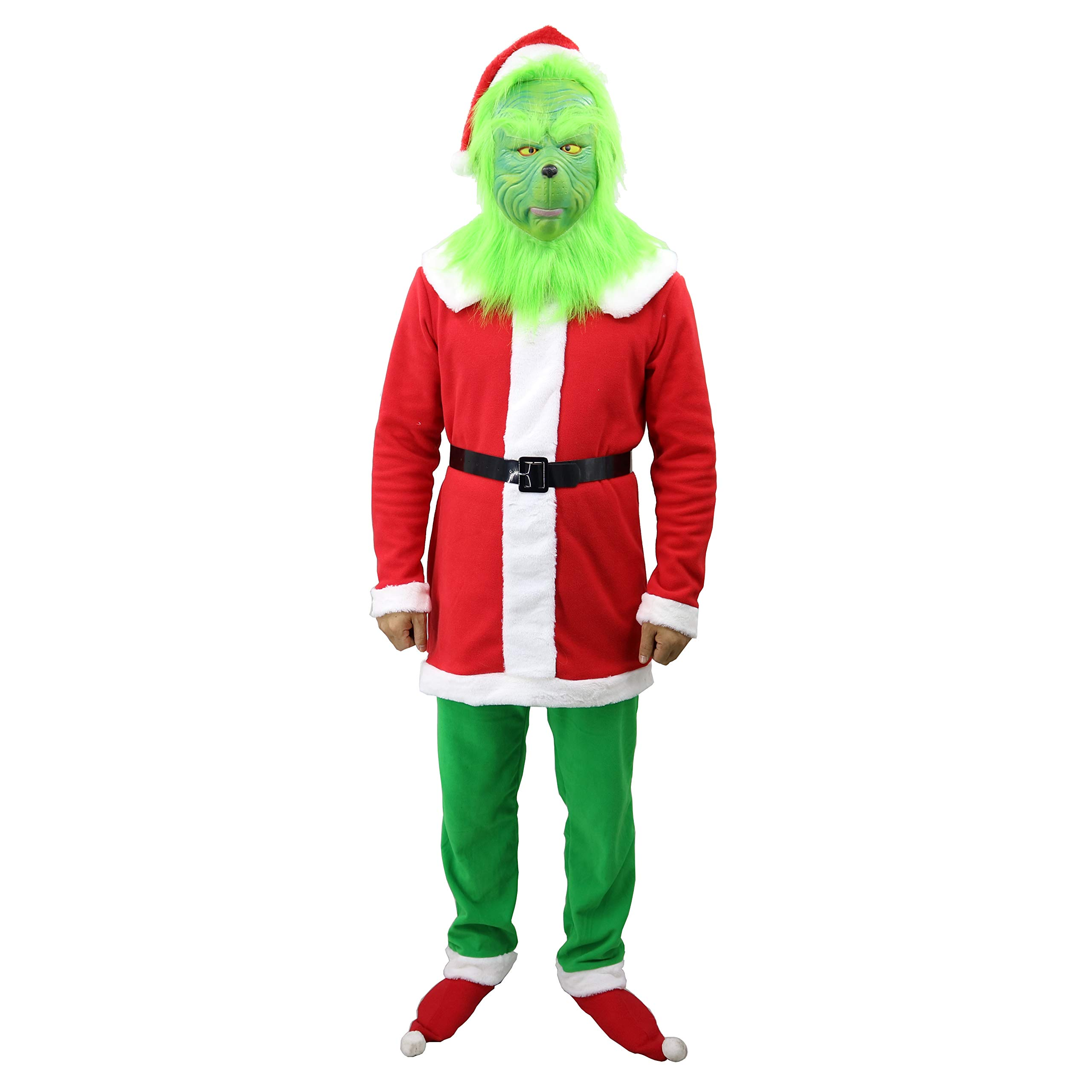 QIKI Grinch Costume Christmas Cosplay Grinch Latex Mask + Christmas hat + Christmas Outfit +Belt + Green Gloves (A, Large)