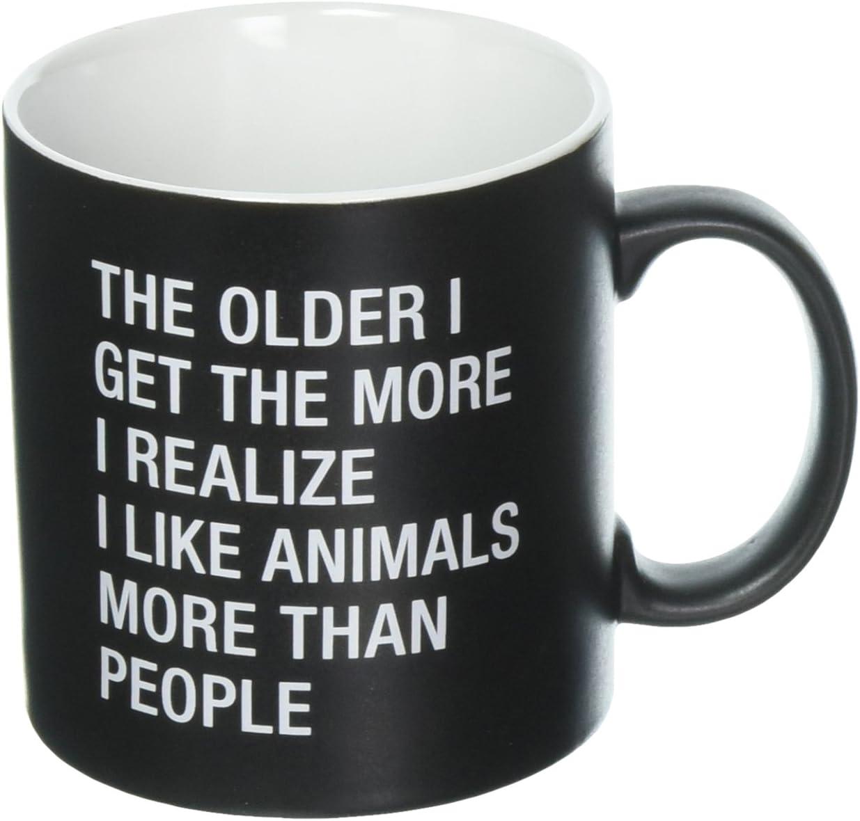 About Face Designs Like Animals More Than People 13 Oz Ceramic Stoneware Coffee Mug, 20 oz, Black