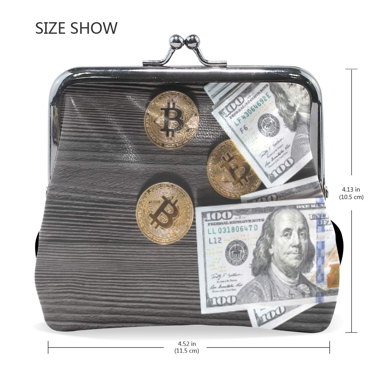 3D Bitcoin Dollars Coin Purse Buckle Vintage PU Pouch Kiss-lock Wallet for Women Girl