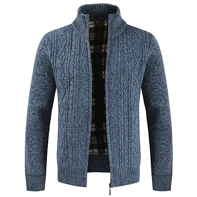 9a26a5648b77 Mens Knitted Cardigan Thick Sweater Full Zip Wool Stand Collar Cardigans Coat  Fleece Lined Long Sleeve Cardigan  Amazon.co.uk  Clothing