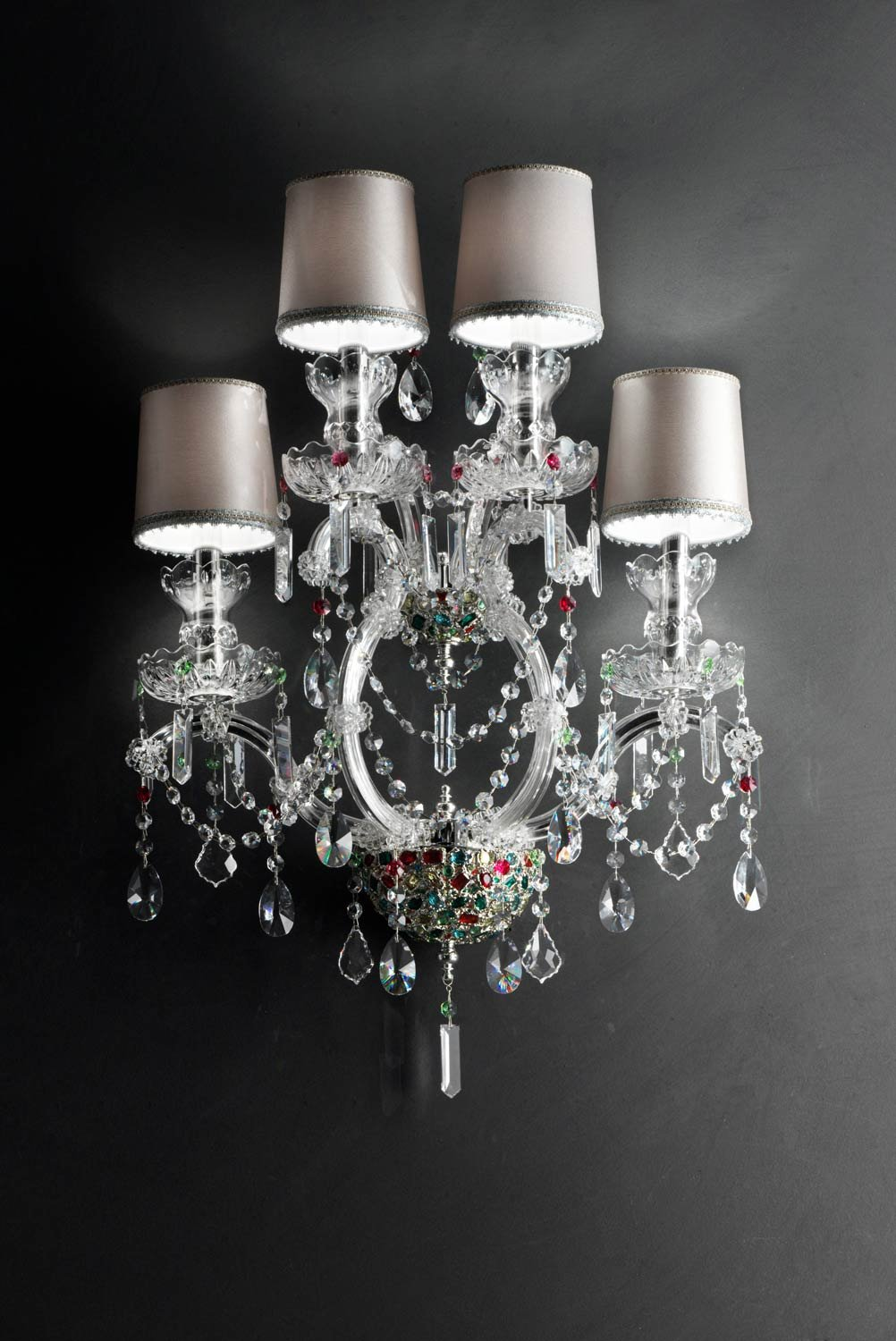 masiero aplique Aqaba Plata A Mano, Made in Italy, Made with Crystal garlands