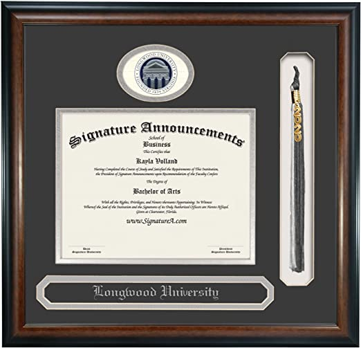 Signature Announcements Longwood-University Undergraduate 20 x 20 Sculpted Foil Seal Graduation Diploma Frame Matte Mahogany