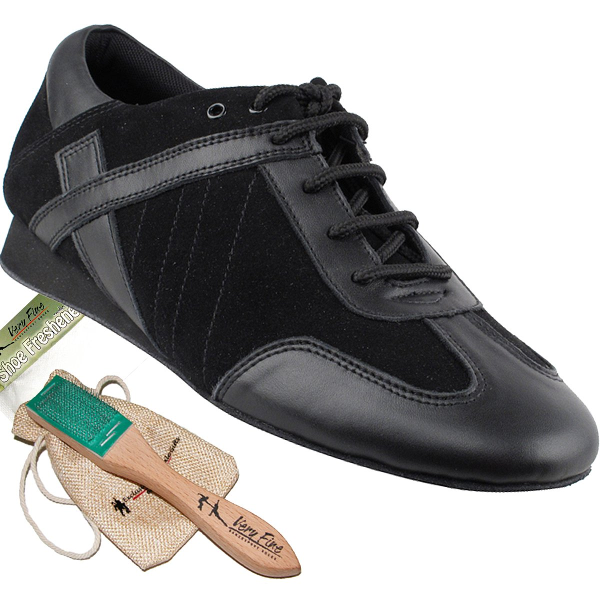 Men's Ballroom Latin Salsa Sneaker Dance Shoes Leather Black SERO106BBXEB Comfortable - Very Fine 8.5 M US [Bundle of 5]