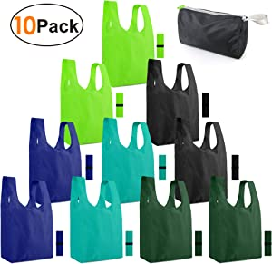 Reusable-Grocery-Bags-Shopping-Foldable-Bags for Groceries 10 Pack Xlarge Bags with Elastic Zipper Bags Gift Bags Machine Washable Lightweight Sturdy Moss Teal Green Black Navy