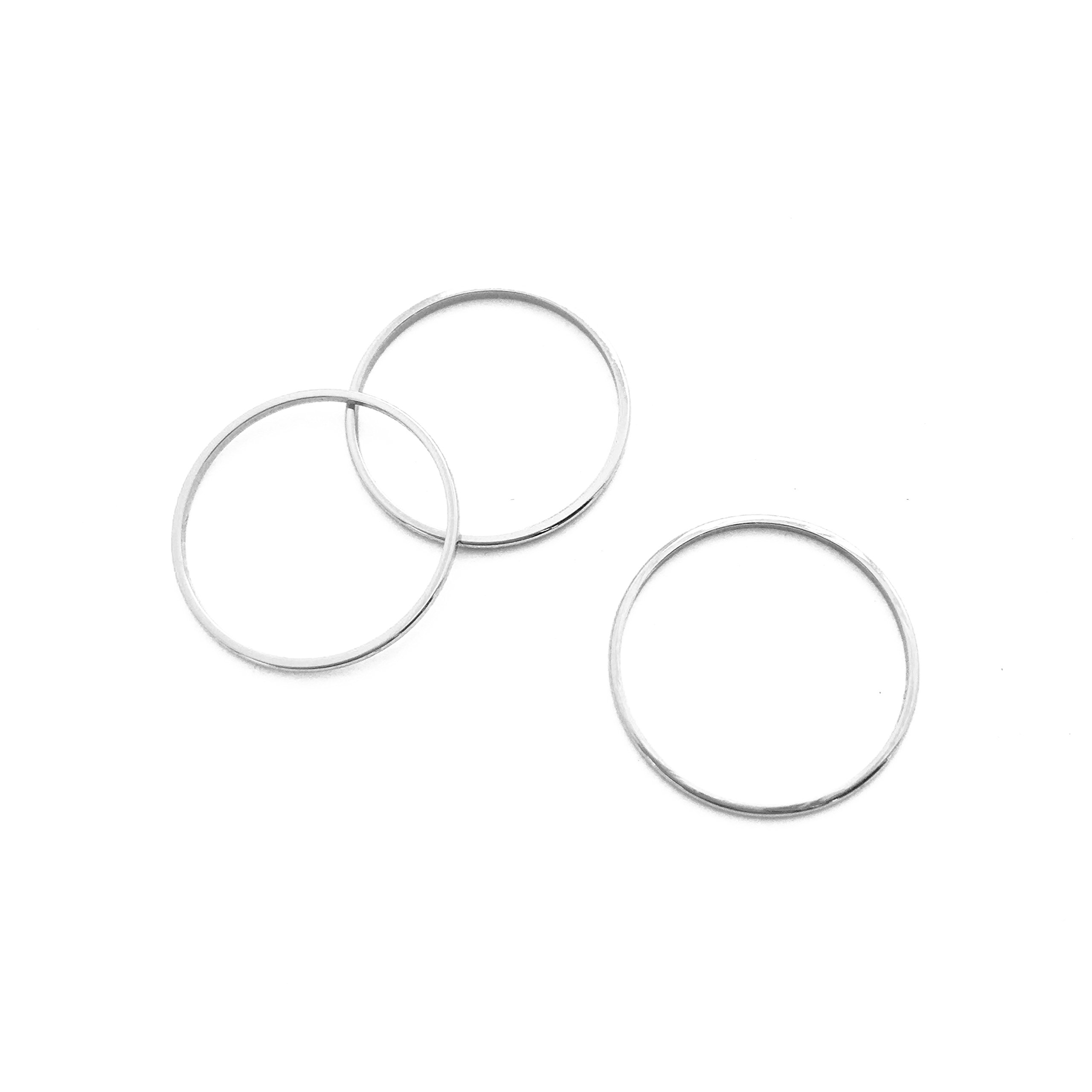 HONEYCAT Sterling Silver Thin Stacking Rings Trio Set | Minimalist, Delicate Jewelry