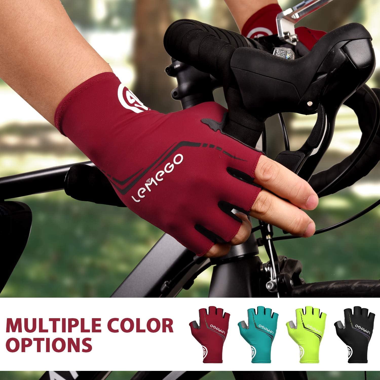 Hi-Viz Bicycle Mountain Bike Cycling Half finger Gloves Black