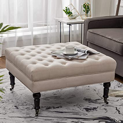 Outstanding Simhoo Large Square Tufted Lined Ottoman Coffee Table With Casters Beige Upholstery Button Footstool Cocktail With Wheels For Living Room Machost Co Dining Chair Design Ideas Machostcouk