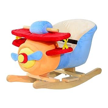 Homcom Caballo Balancin Niño Avion Peluche+Musica Cinturon Seguridad Caballito Infantil