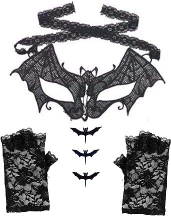 DangerousFX Máscara veneciana de encaje de murciélago de vampiro + ...