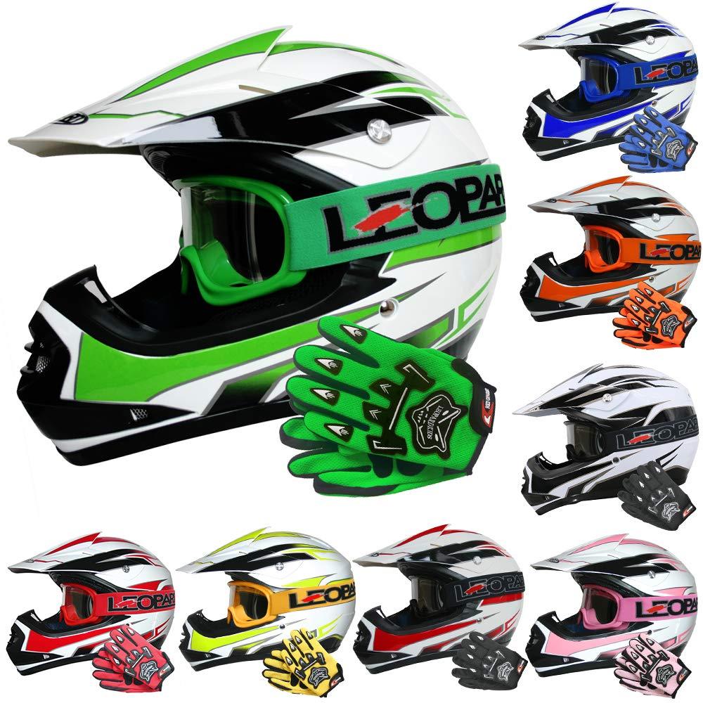 Leopard LEO-X16 Kids Motocross HELMET & GLOVES & GOGGLES (Black S) Children Quad Bike ATV Go Karting Helmet