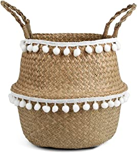 BlueMake Small Ball Macrame Woven Seagrass Belly Basket for Storage, Decoration, Laundry, Picnic, Plant Pot Cover,and Grocery and Toy Storage (Small,White Ball)