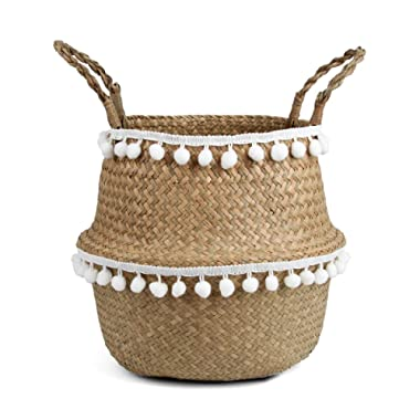 BlueMake Small Ball Macrame Woven Seagrass Belly Basket for Storage, Decoration, Laundry, Picnic, Plant Pot Cover,and Grocery and Toy Storage (Medium,White Ball)
