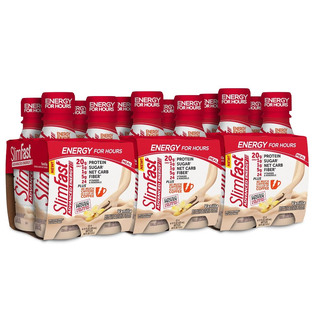 SlimFast Advanced Energy, Meal Replacement Ready to Drink, Protein Shake, 20 Grams of Protein, with Caffeine, Vanilla, Pack of 12
