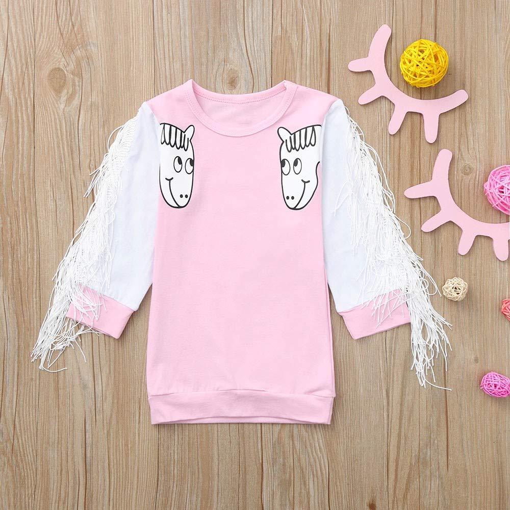 KONFA Toddler Baby Girl Autumn Winter Cartoon Horse Tassels Dress,for 0-4 Years,Little Princess Long Sleeve Skirt Clothes