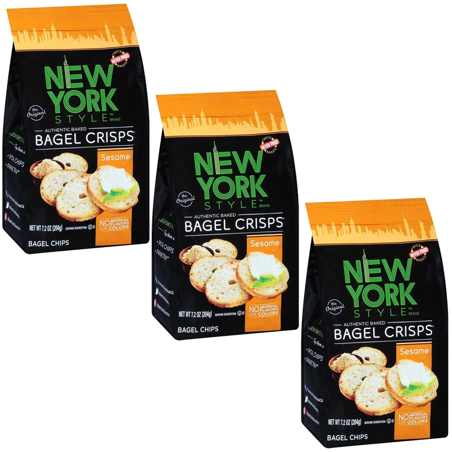 New York Style Bagel Crisp, Sesame, 7.2 Ounce (Pack of 3) by New York Style