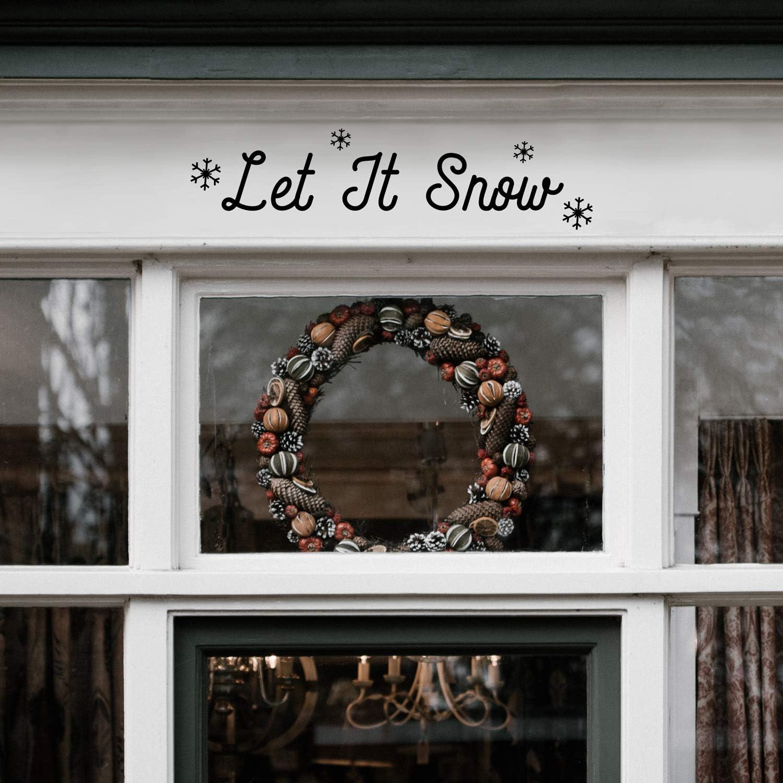 "Vinyl Wall Art Decal - Let It Snow Snowflakes - 6"" x 23"" - Christmas Holiday Seasonal Decoration Sticker - Indoor Outdoor Home Office Wall Door Window Bedroom Workplace Decor Decals (6"" x 23"", Black)"