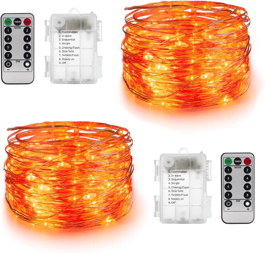 Orange Lights for Halloween 2 Sets – 16.4ft Battery Operated Fairy String Lights – 50 LEDs Twinkle Firefly Lights with Remote Control for Garden,Thanksgiving Day,Christmas Indoor Decoration