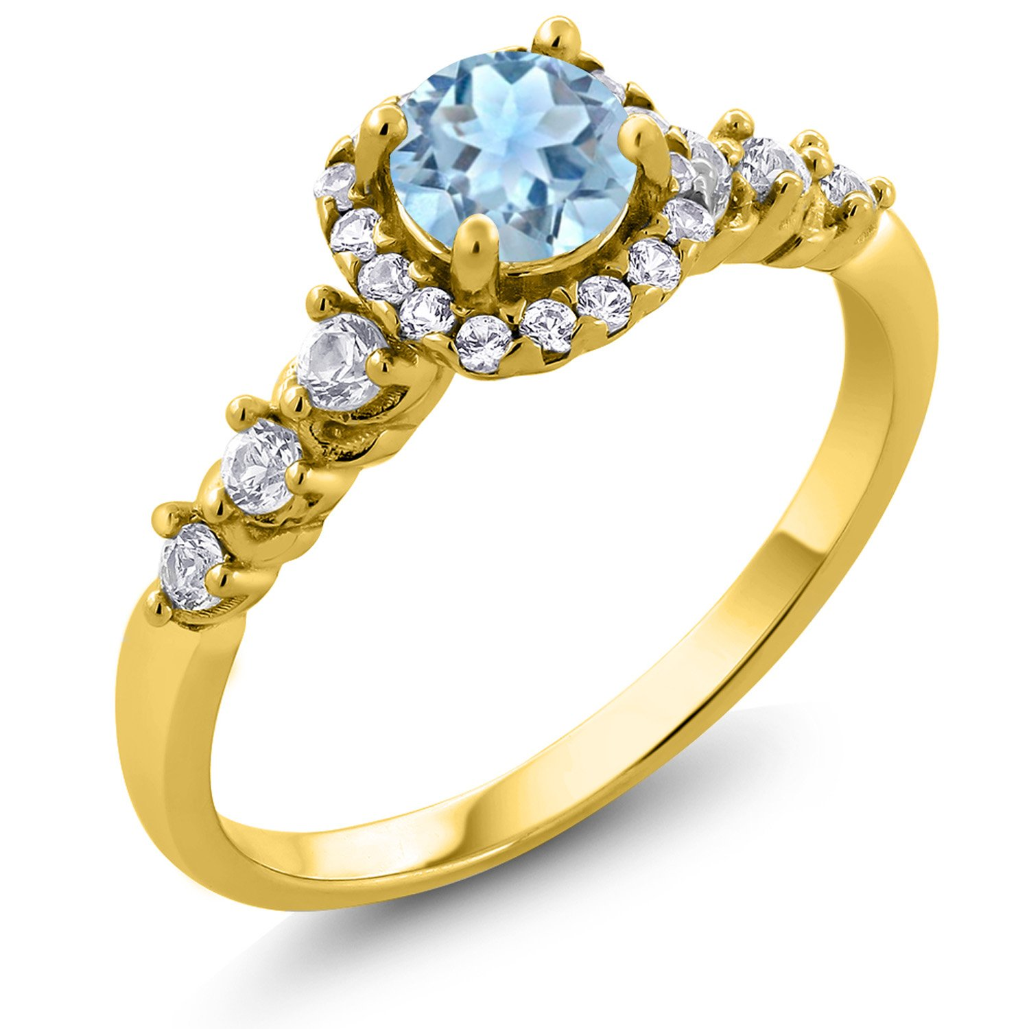 Gem Stone King 0.82 Ct Round Aquamarine and Created Sapphire 18K Yellow Gold Plated Silver Ring (Size 5)