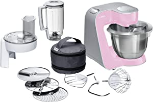 Kitchen machine, MUM58K20, 1000W The powerful kitchen machine in gentle pink/Silver for versatility when cooking and baking. מיקסר משולב מעבד מזון, בלנדר, תיק אביזרים, בוש