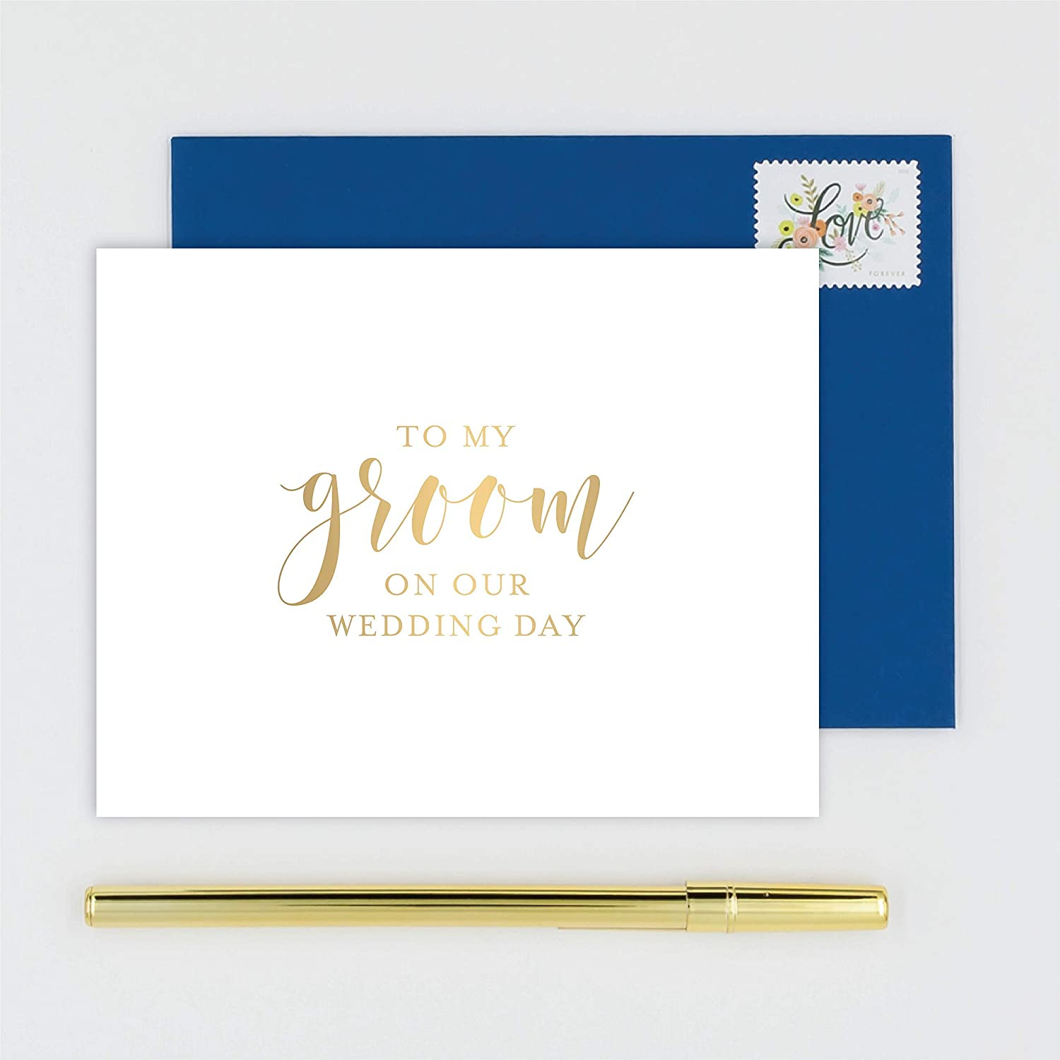 Amazon com to my groom on our wedding day card for husband handmade white card stamped with gold foil calligraphy design with navy blue envelope