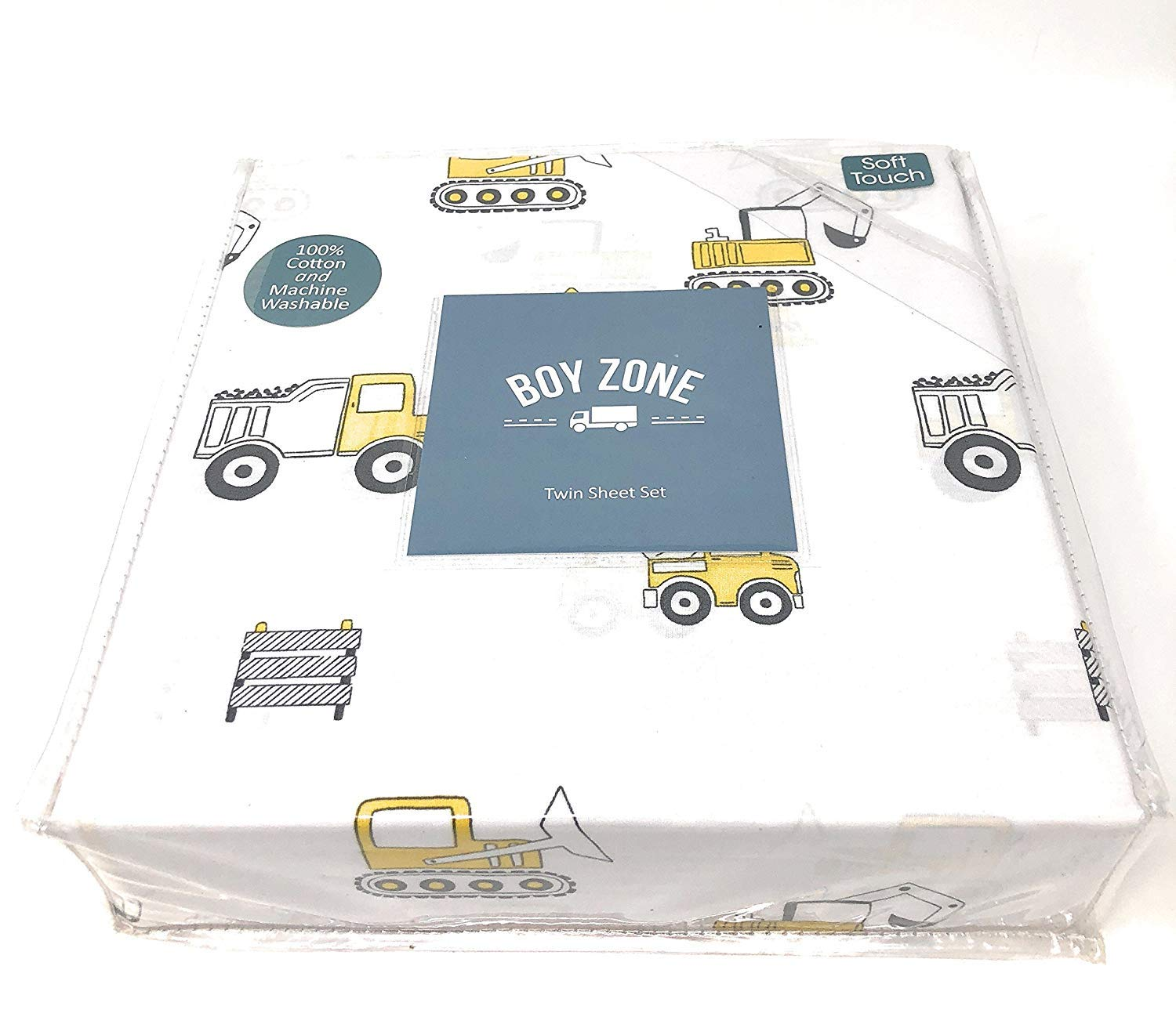 Boy Zone TWIN Sheet Set | 100% cotton | Construction vehicles (trucks, front loaders, dump trucks) | Mustard Yellow/White