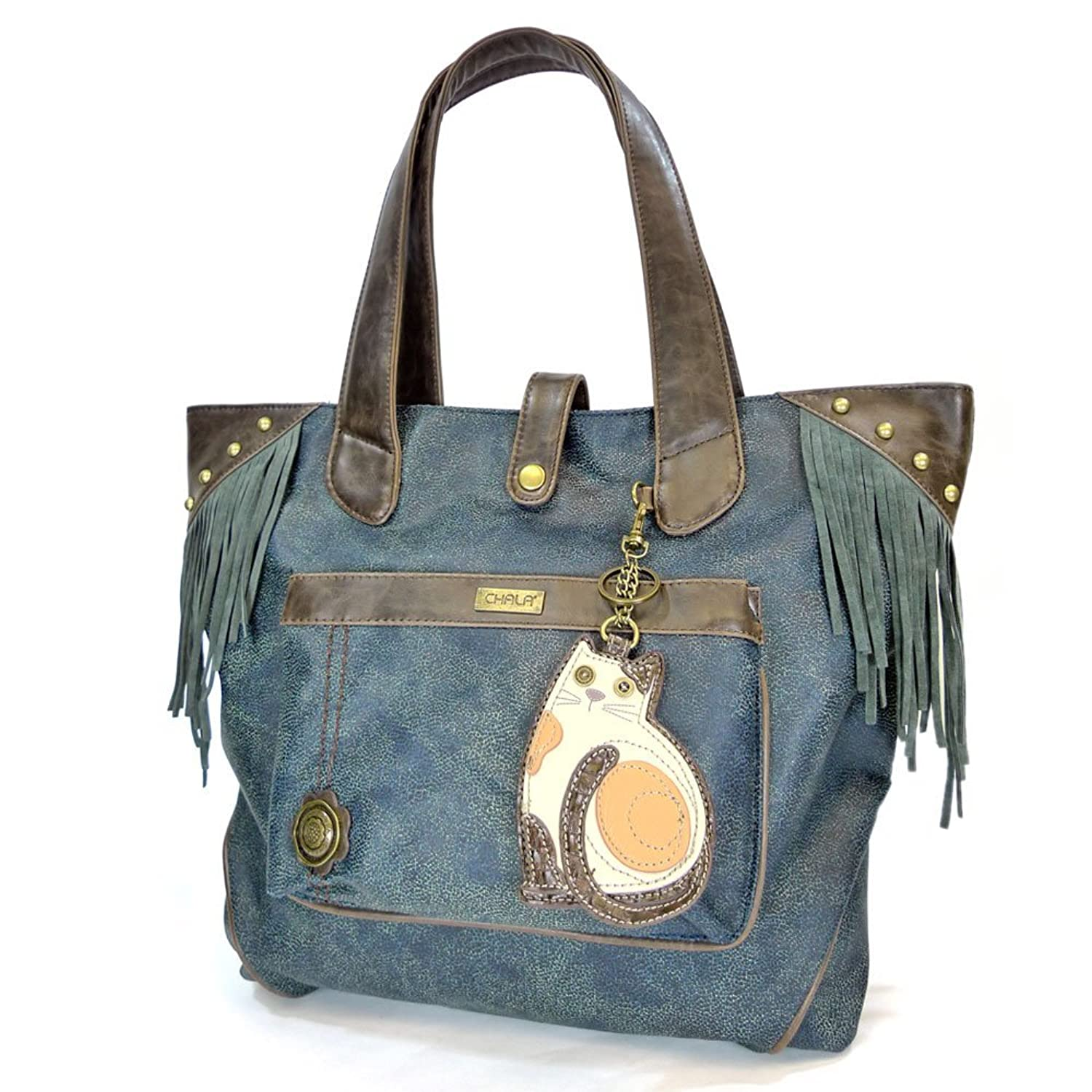 Chala LaZzy Cat Fringe Tote with Key Fob, Blue