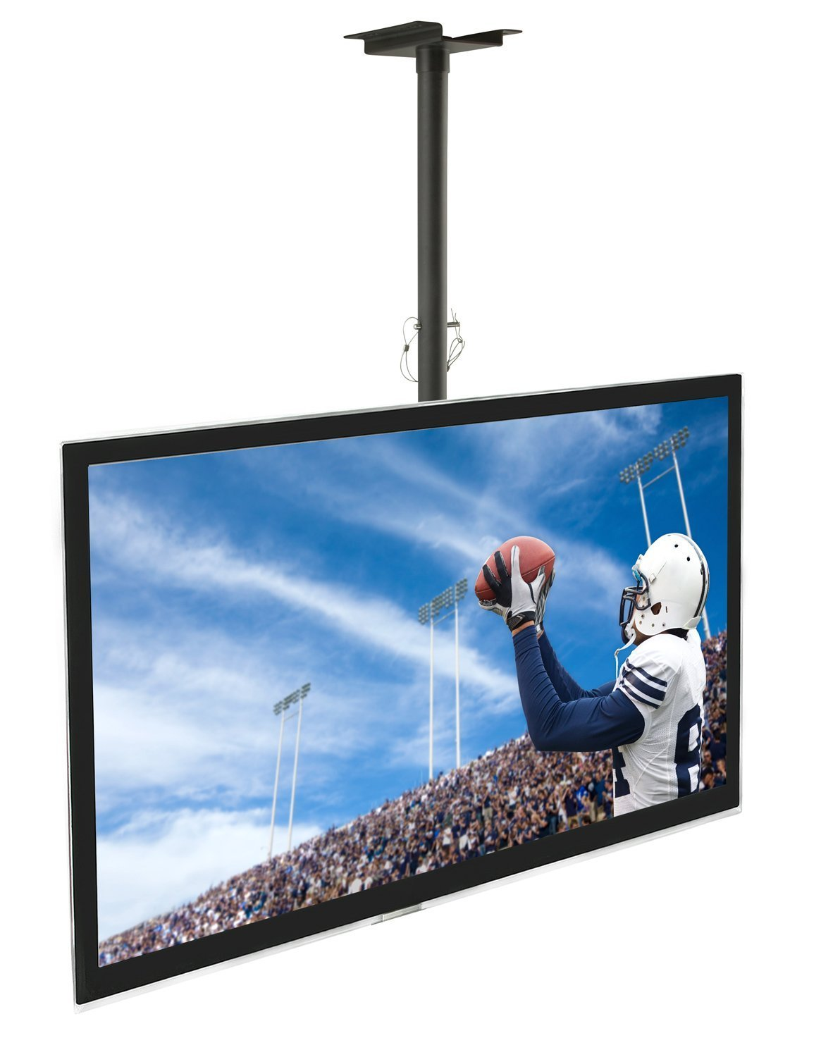 Mount-It Ceiling TV Mount For 32 37 40 42 43 50 55 60 65 70 Inch Flat Panel Televisions, Articulating Hanging Swivel TV Pole Bracket Adjustable Height 175 Pound Capacity, Black (MI-501B), Single by Mount-It!
