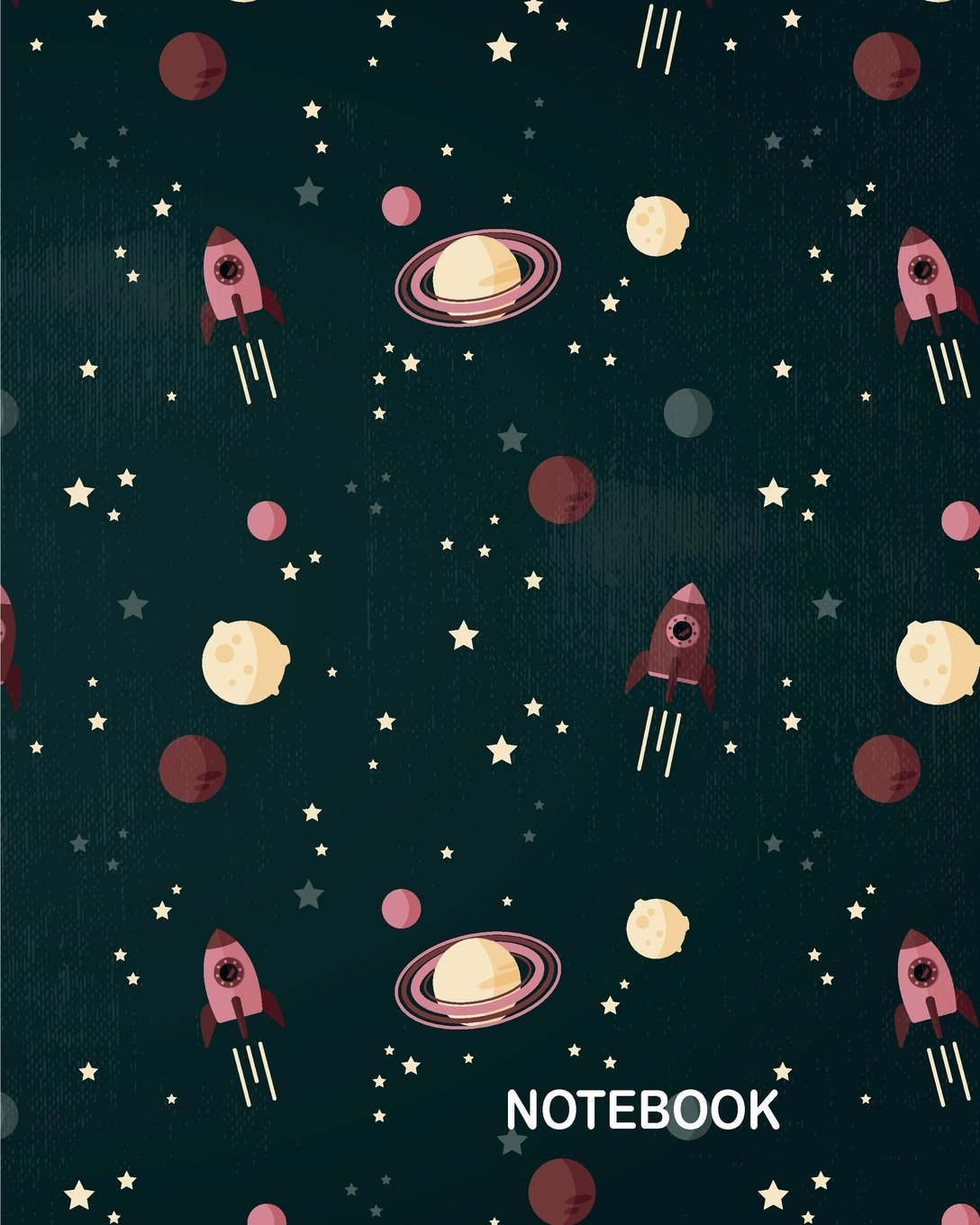 """Notebook: Hand drawn rocket with spatial elements background : Journal Dot-Grid, Grid, Lined, Blank No Lined: Book: Pocket Notebook Journal Diary, 120 pages, 8"""" x 10"""" PDF"""