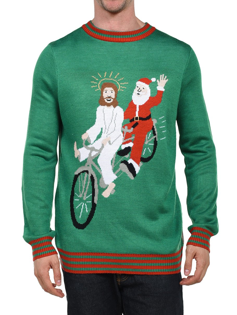Tipsy Elves Men's Bearded Besties Sweater: X-Large,Green