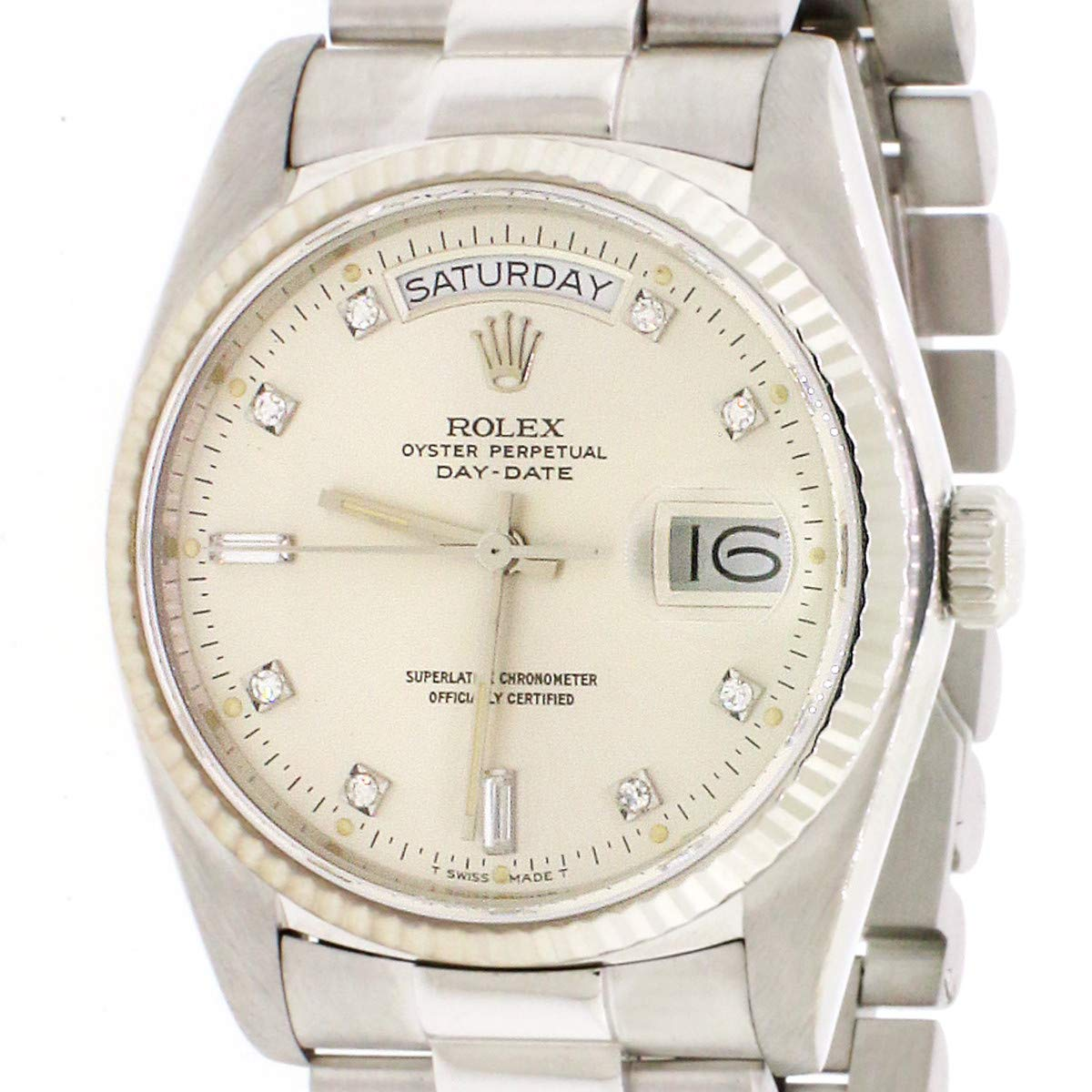 5cc32aa02c3 Amazon.com: Rolex President Day-Date White Gold 36mm Factory Diamond Dial  Automatic Watch: Rolex: Watches