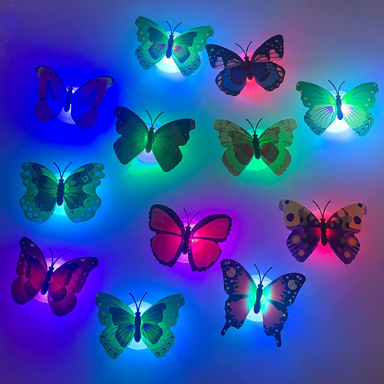 24 Pcs 3D LED Butterfly Decoration Night Light, 3D Luminous Butterfly Wall Stickers Light Wall Decor, Mariposas Decorativas para Pared Luces Led para Decoracion for Garden, Backyard Kids Room Bedroom