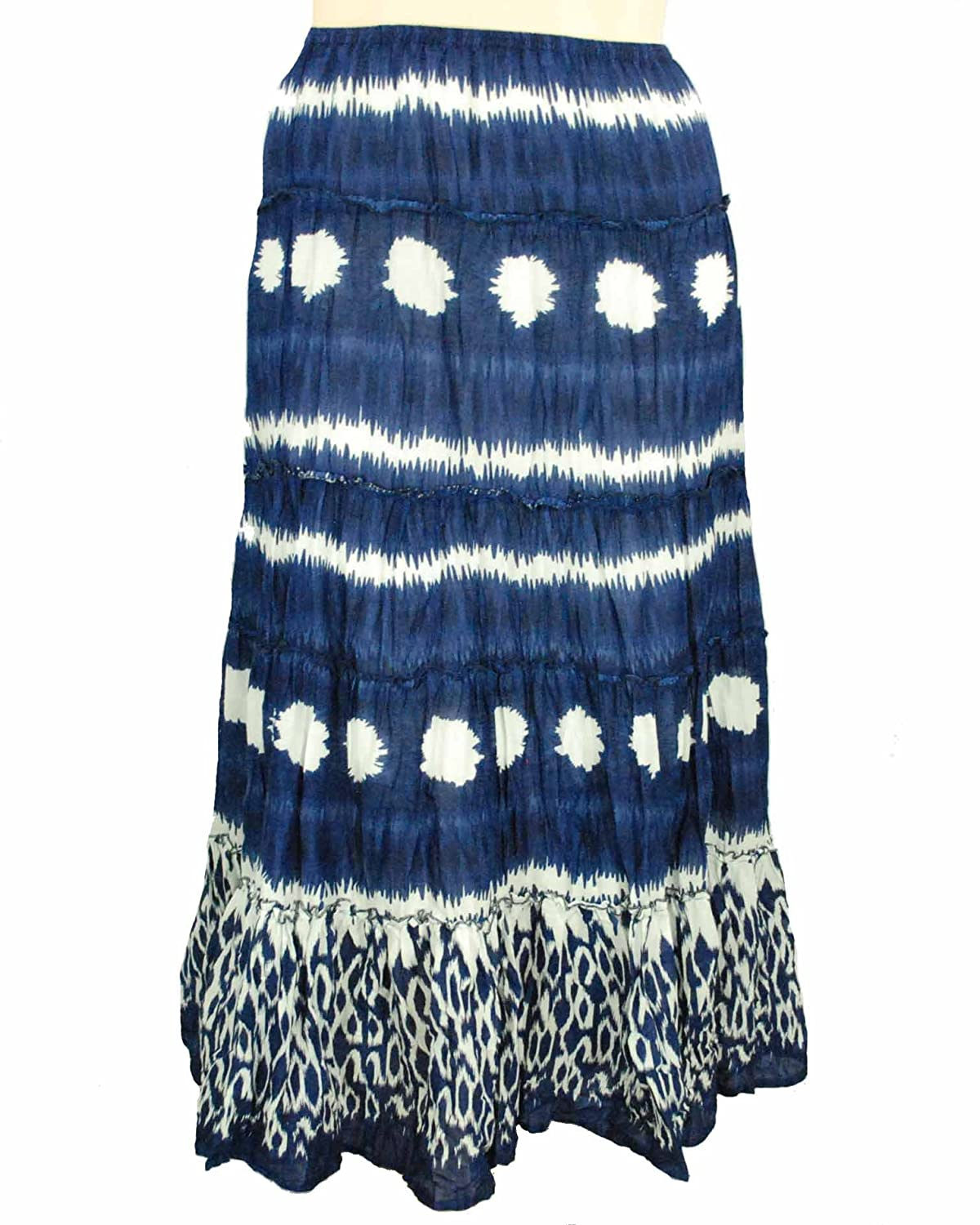 Style&Co. Women's Tiered Print Maxi Samba Blue Plus Size Skirt, 1X