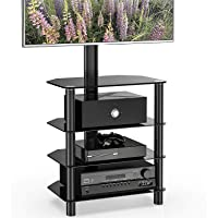 FITUEYES Floor TV Stand for 32''-65 inch LCD LED Flat/Curved Screen, Swivel 60° & 6 Adjustable Heights, Free & Space Save TT107501MB