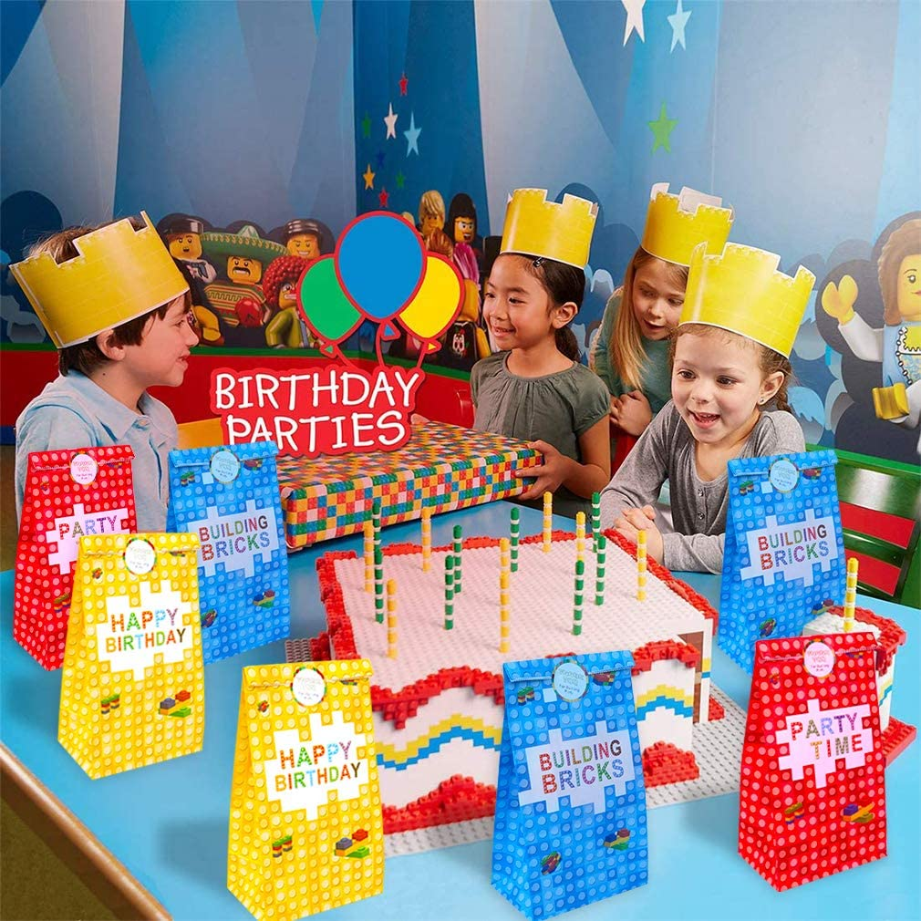 36 Pack Building Blocks Candy Treat Bags Color Bricks Theme Building Block Candy Bags for Kids Birthday Party Supplies Building Block Theme Party Decoration