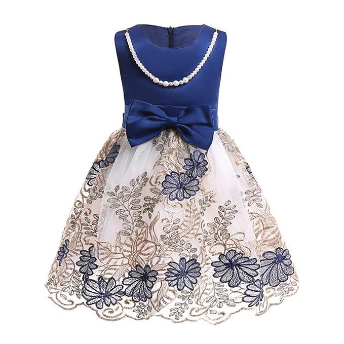 PAOLIAN Vestidos para niñas Verano 2018 Princesa Vestidos Embroidered Floral Hilado Neto Sin Manga Bowknot Hueco Volantes Fiestas Moda Noche Vestidos de 24 ...